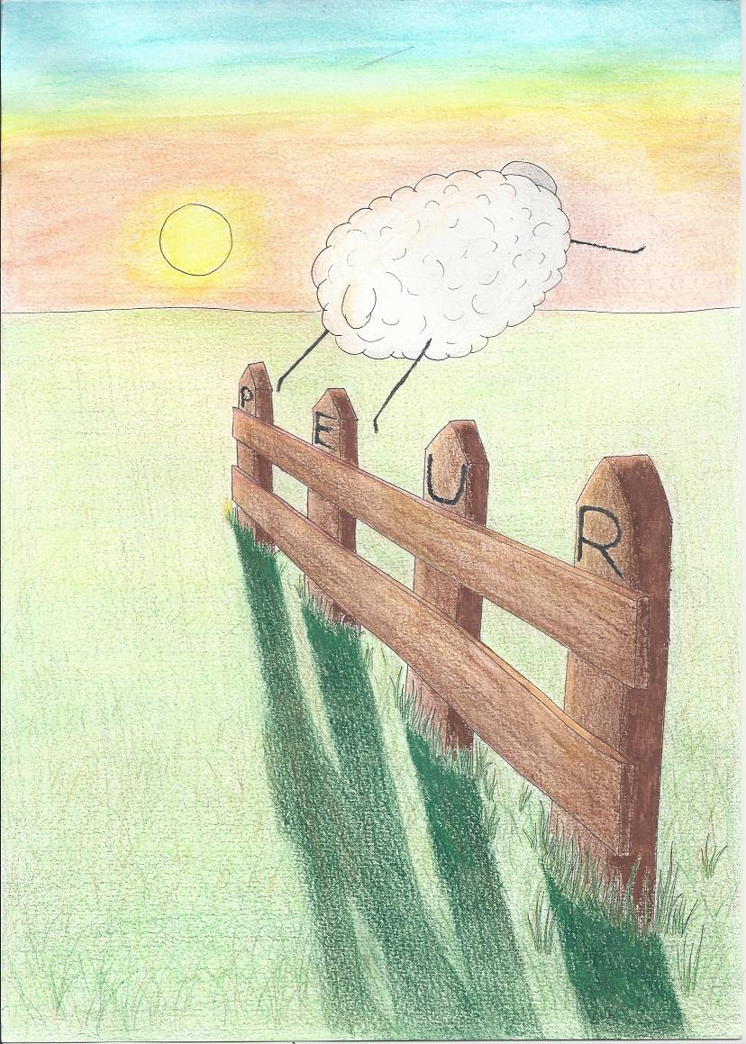 mouton sautant par dessus la barrière de la peur