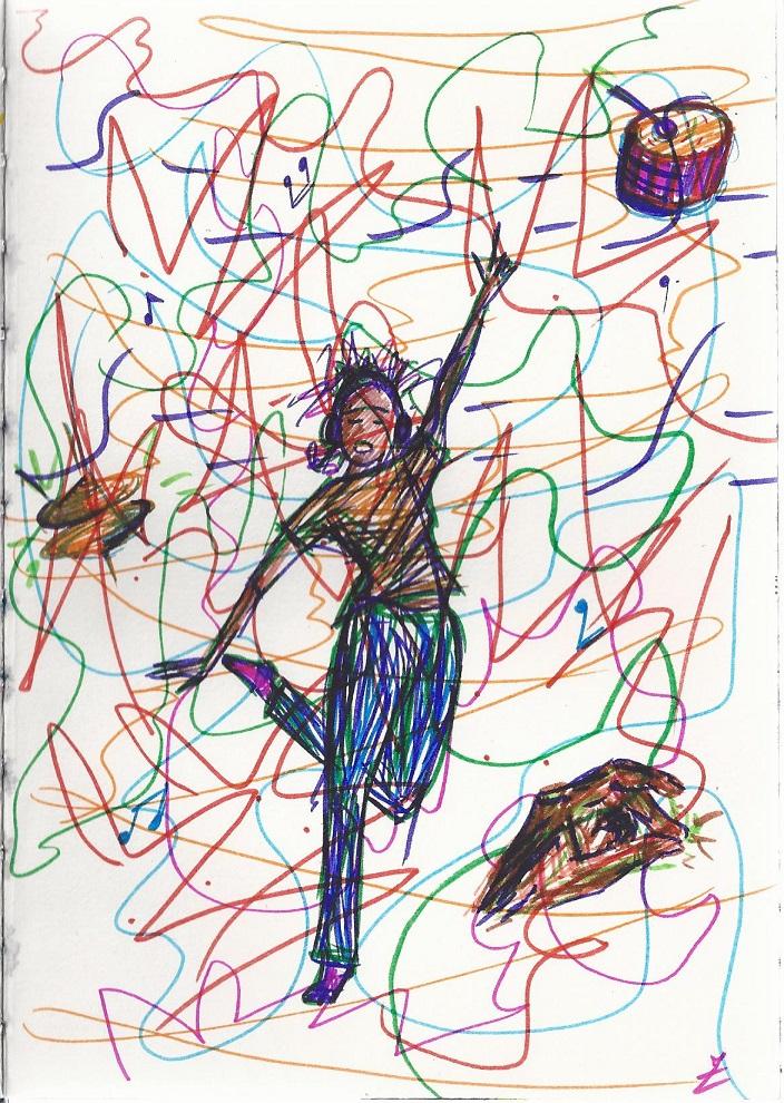 dessin de personnage dansant au son de la musique, avec ses écouteurs