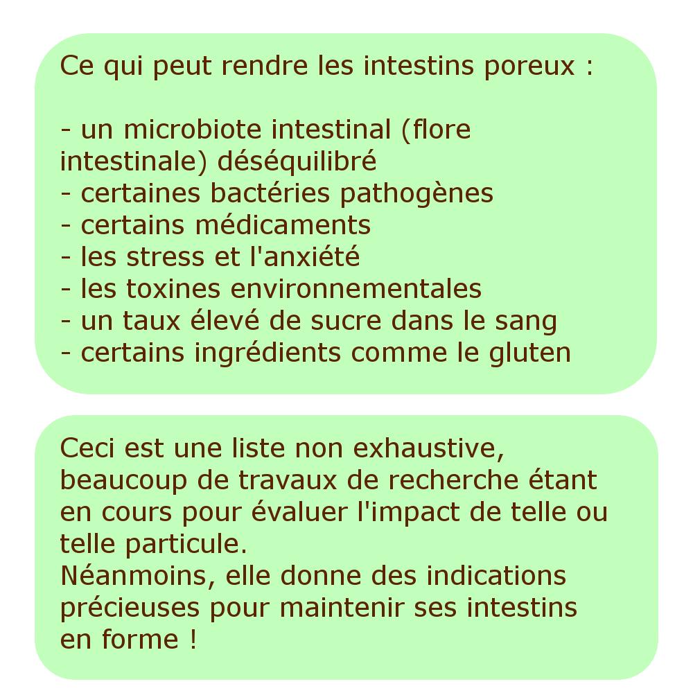 Ce qui peut rendre les intestins poreux : - un microbiote intestinal (flore intestinale) déséquilibré - certaines bactéries pathogènes - certains médicaments - les stress et l'anxiété - les toxines environnementales - un taux élevé de sucre dans le sang - certains ingrédients comme le gluten Ceci est une liste non exhaustive, beaucoup de travaux de recherche étant en cours pour évaluer l'impact de telle ou telle particule. Néanmoins, elle donne des indications précieuses pour maintenir ses intestins en forme !