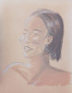 Dessin de portrait réalisé en crayons à paupières et fond de teint, sur papier
