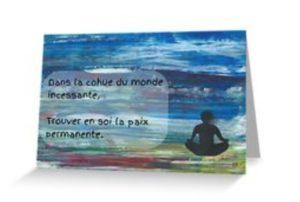 méditation dans le vent imprimé sur carte de voeux