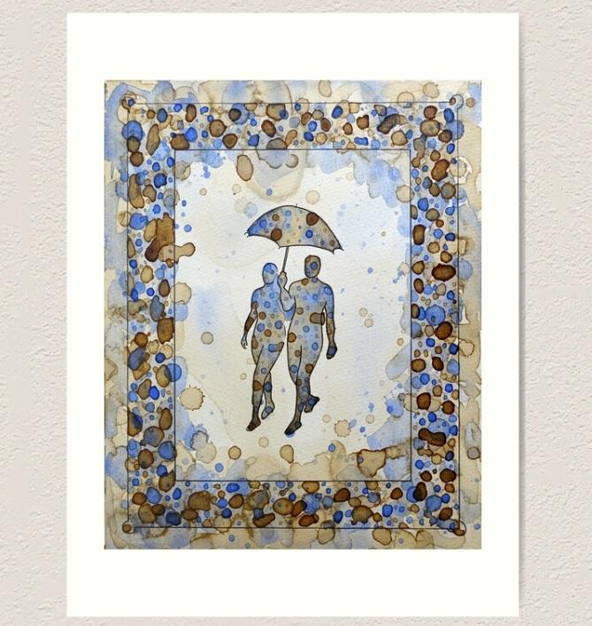 peinture de couple au parapluie